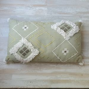 Green Patterned Throw Pillow